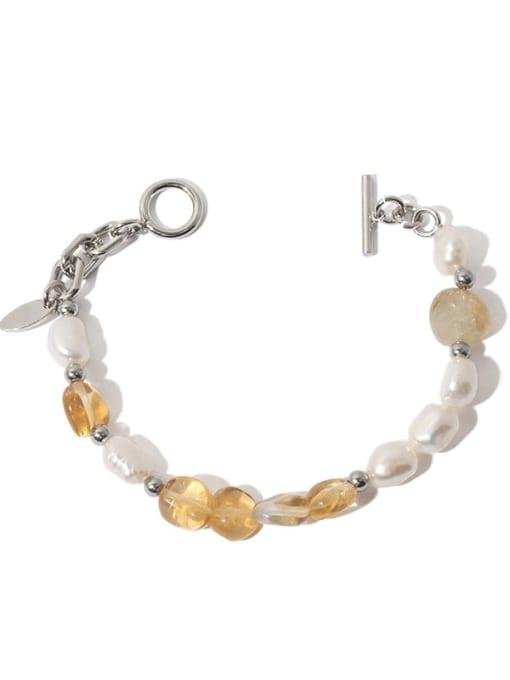 TINGS Brass Freshwater Pearl Geometric Hip Hop Beaded Bracelet 0