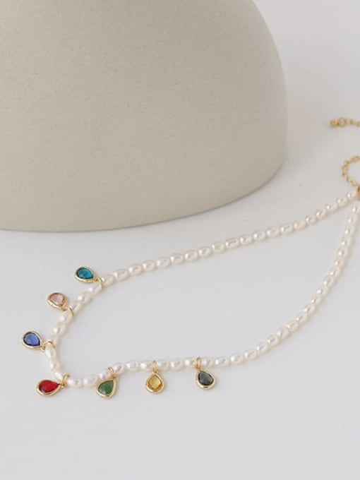 TINGS Brass Freshwater Pearl Water Drop Minimalist Necklace 0