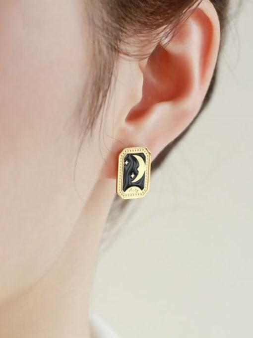Five Color Titanium Steel Enamel Star Vintage Stud Earring 1