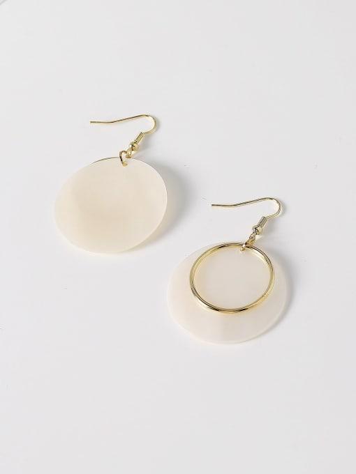 HYACINTH Brass Shell Geometric Minimalist Hook Earring 3