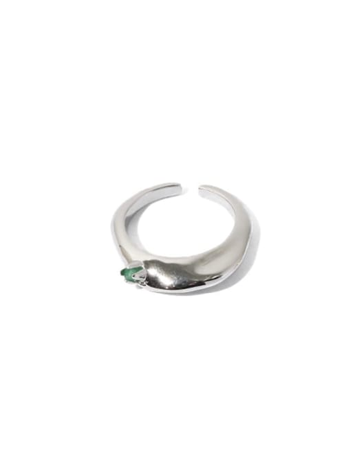 platinum Brass Cubic Zirconia Geometric Hip Hop Band Ring
