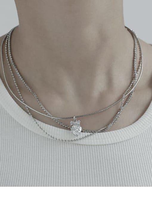 TINGS Brass Cubic Zirconia Water Drop Vintage Multi Strand Necklace 1