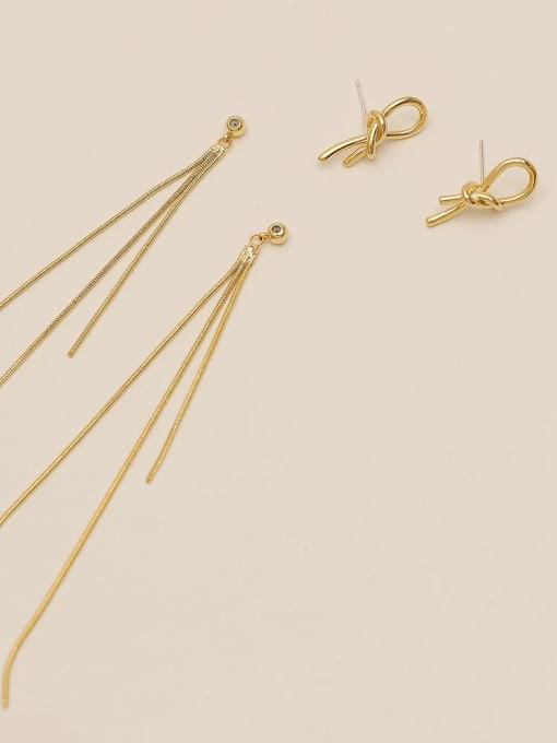 HYACINTH Brass Tassel Minimalist Threader Earring 3