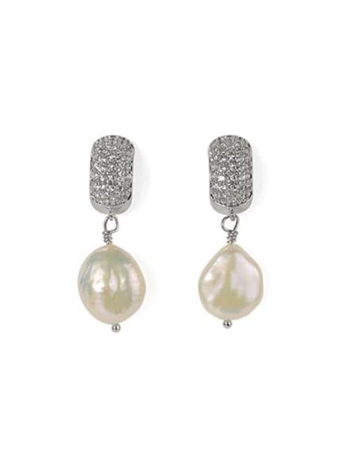 ACCA Brass Freshwater Pearl Geometric Classic Chandelier Earring