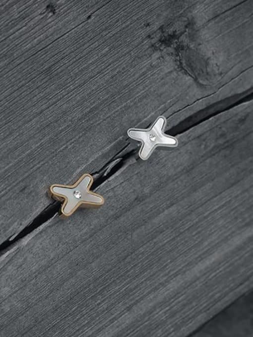 TINGS Brass Shell Cross Minimalist Stud Earring 1