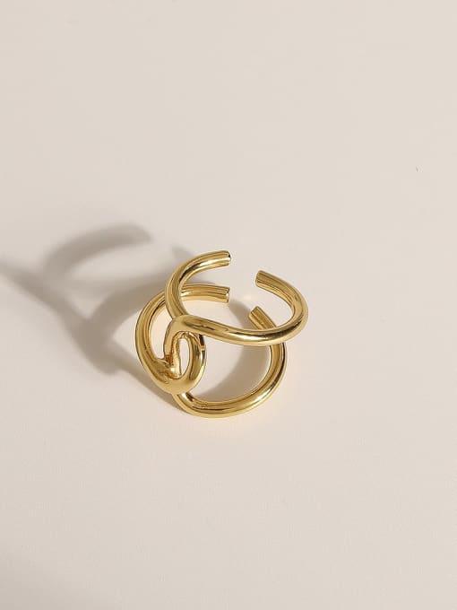 JZ094 Brass Geometric Vintage Band Ring