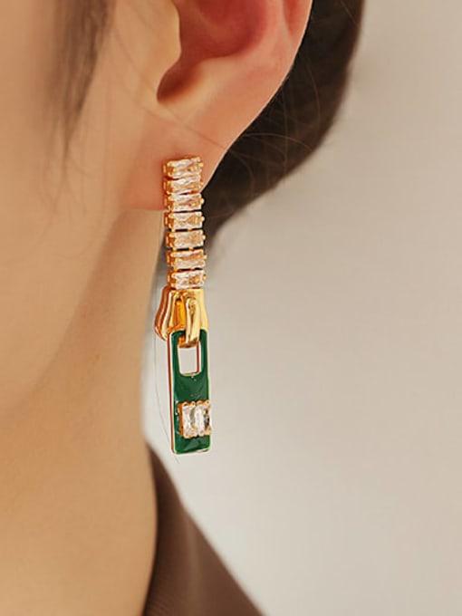 ACCA Brass Cubic Zirconia Rectangle Minimalist Drop Earring 1