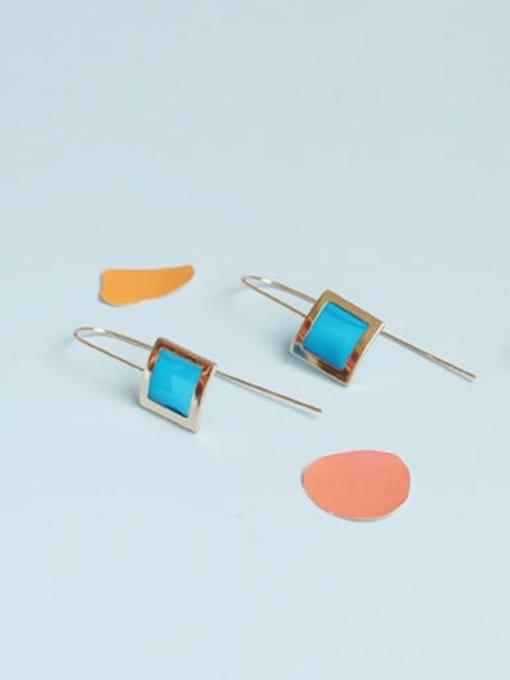 Blue earhook Alloy Enamel Geometric Vintage Hook Earring