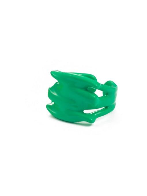 Green drop oil Zinc Alloy Enamel Geometric Minimalist Band Ring
