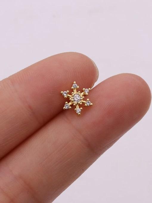 Gold 6#(single) Brass Cubic Zirconia Flower Cute Stud Earring (single)