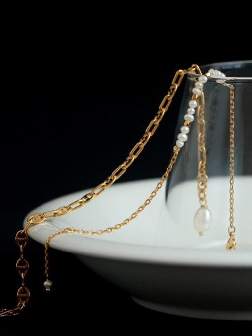 TINGS Brass Imitation Pearl Irregular Minimalist Bracelet 2