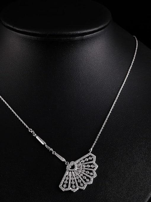 white Brass Cubic Zirconia Irregular Minimalist Necklace