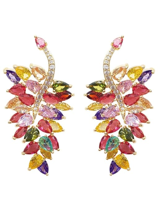 OUOU Brass Cubic Zirconia Leaf Luxury Chandelier Earring