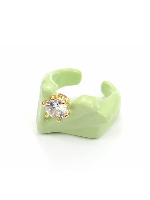 Turquoise oil drop (ring 7) Zinc Alloy Enamel Geometric Minimalist Band Ring