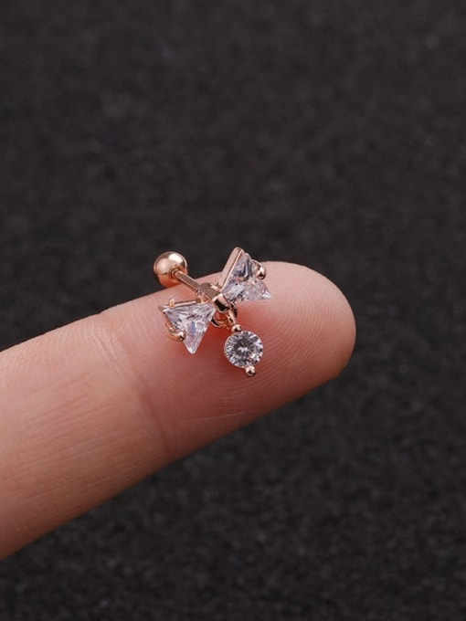 Rose Gold 5#(Single) Brass Cubic Zirconia Bowknot Minimalist Stud Earring