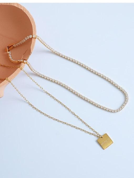 Five Color Brass Cubic Zirconia Geometric Vintage Necklace