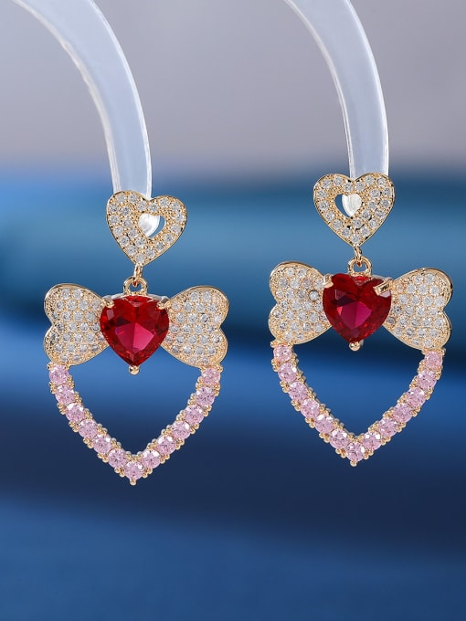 Red and pink Brass Cubic Zirconia Heart Luxury Drop Earring