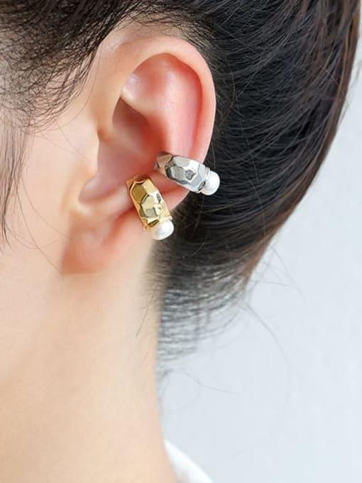 Five Color Brass Imitation Pearl Geometric Minimalist Single Earring 1