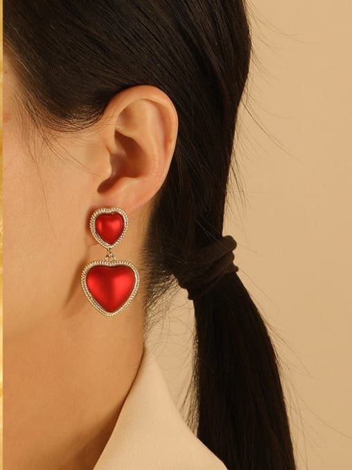 HYACINTH Brass Enamel Heart Ethnic Drop Earring 1