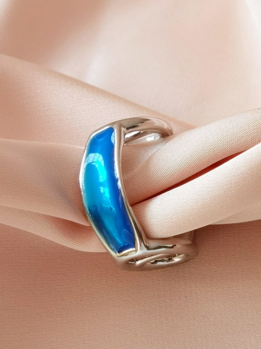 White K blue Alloy Enamel Geometric Minimalist Band Ring