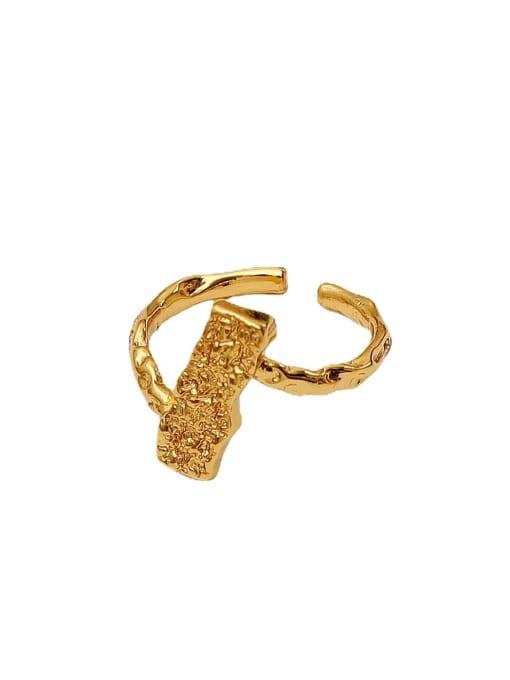 HYACINTH Brass Irregular Geometric Vintage Band Ring 4
