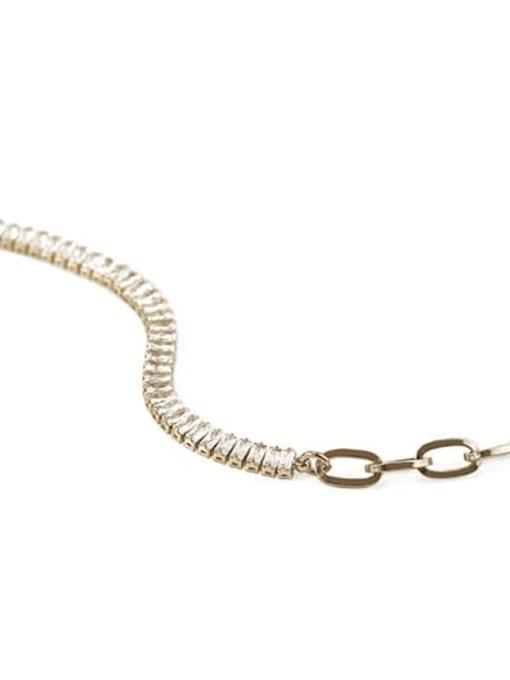 paltinum Brass Cubic Zirconia Geometric chain Vintage Necklace