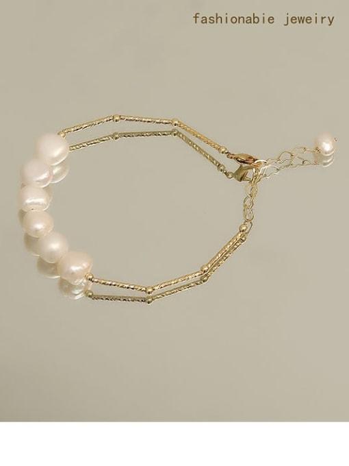 golden Brass Freshwater Pearl Geometric Minimalist Beaded Bracelet