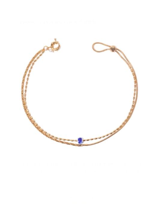 Gold (adjustable) Brass Oval  Bead Vintage Multi Strand Necklace