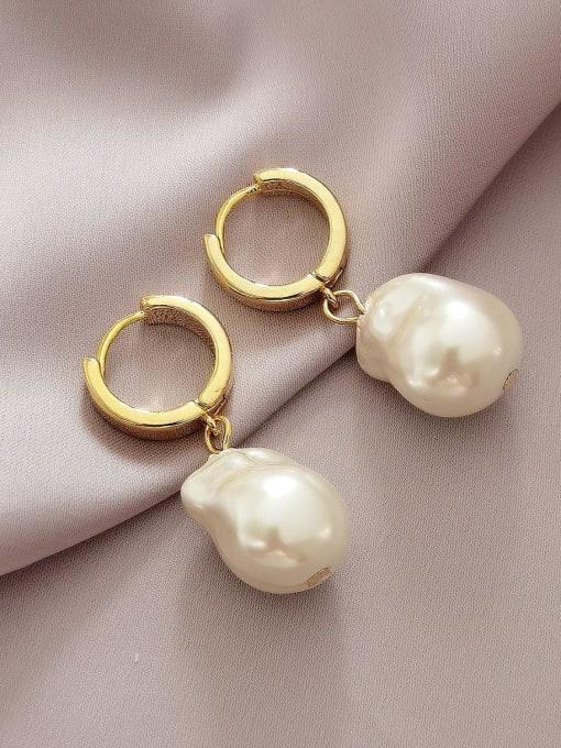 14k Gold Brass Freshwater Pearl Geometric Minimalist Drop Earring