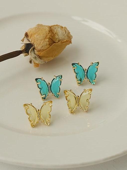 ACCA Brass Cubic Zirconia Butterfly Minimalist Stud Earring 0