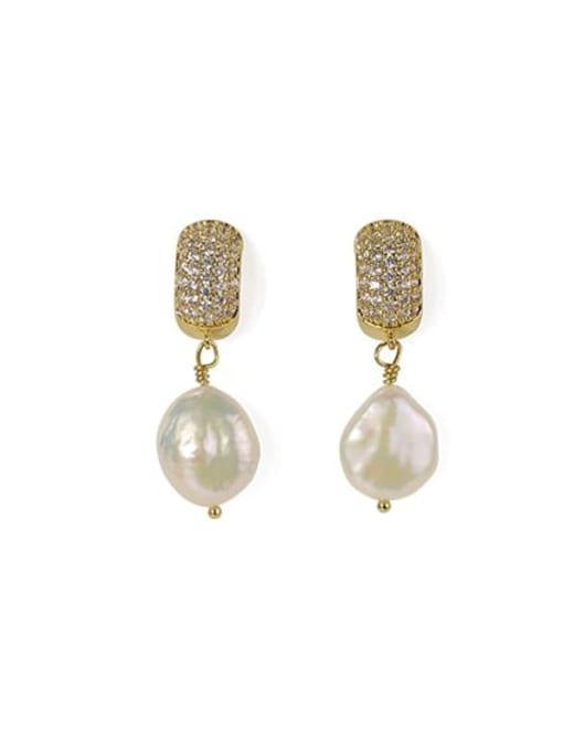 ACCA Brass Freshwater Pearl Geometric Classic Chandelier Earring 3