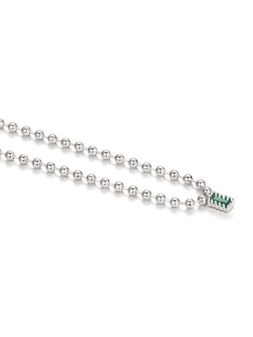 Platinum Brass Bead  Chain Geometric Vintage Necklace