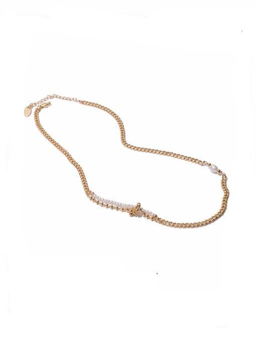 golden Brass Imitation Pearl Geometric Hip Hop Necklace
