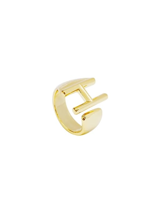 HYACINTH Brass Smooth Letter Minimalist Band Ring 0