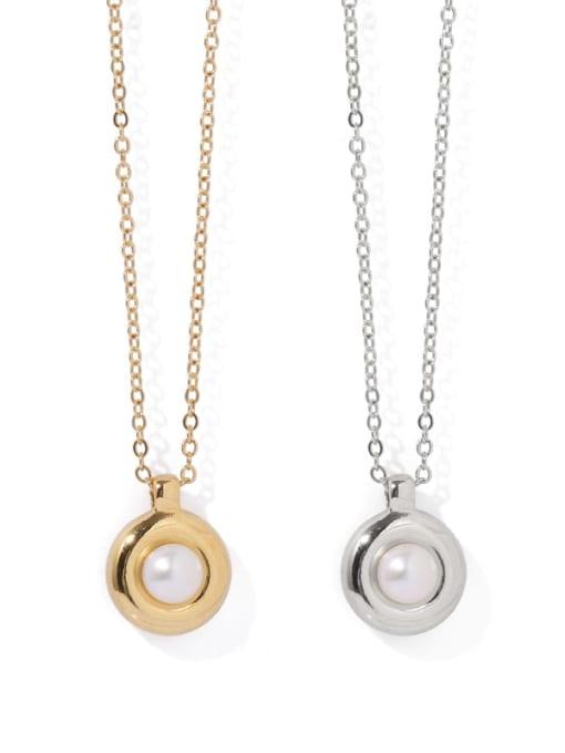 ACCA Brass Imitation Pearl Geometric Vintage Necklace 2