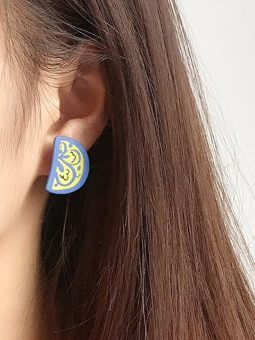 Five Color Alloy Enamel Irregular Cute Stud Earring 3