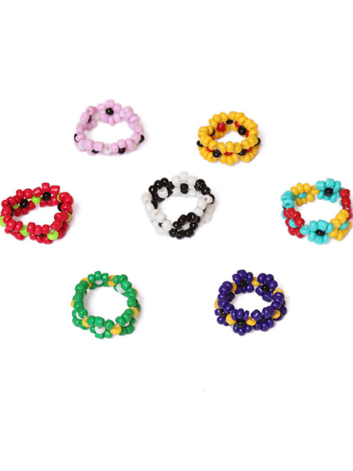 Five Color Alloy Glass bead Multi Color Round Ethnic Band Ring