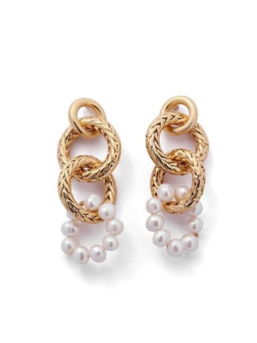 golden Brass Imitation Pearl Geometric Hip Hop Drop Earring