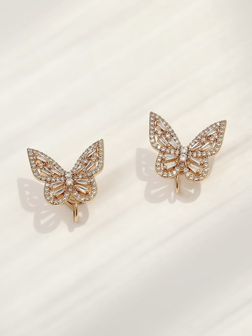 HYACINTH Brass Cubic Zirconia Butterfly Vintage Clip Earring