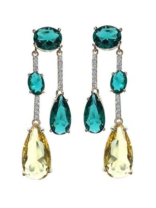green Brass Cubic Zirconia Water Drop Vintage Drop Earring