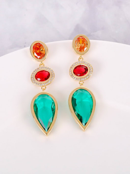 OUOU Brass Cubic Zirconia Multi Color Water Drop Luxury Drop Earring 2