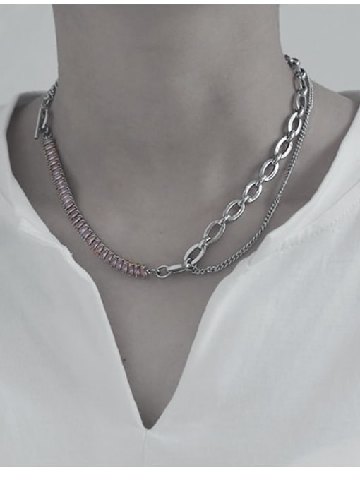 TINGS Brass Geometric Vintage Multi Strand Necklace