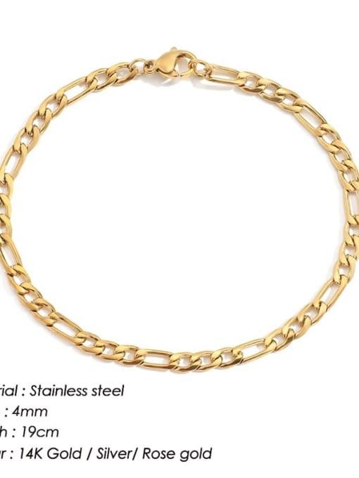 Gold 4mm 19cm Stainless steel Geometric Minimalist Link Bracelet