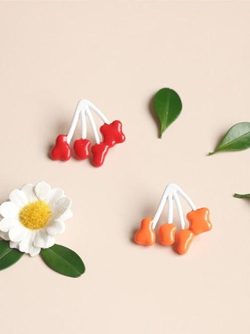 Five Color Alloy Enamel Heart Cute Stud Earring 0