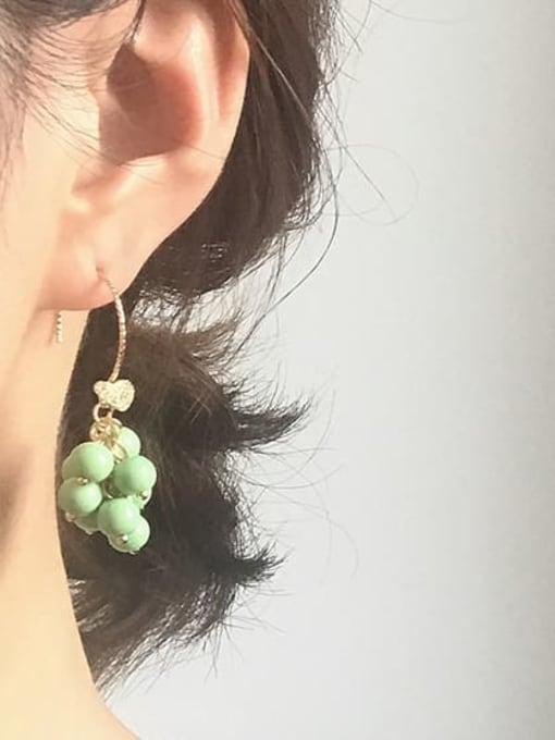 Five Color Alloy Bead Enamel Friut Bohemia Hook Earring 1