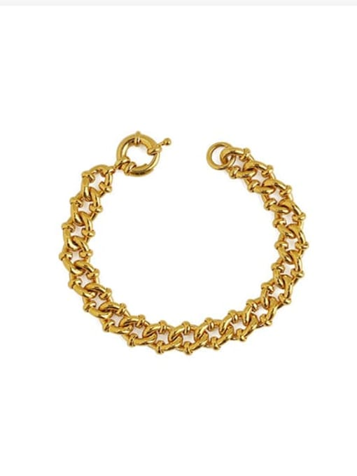 golden Brass Hollow Geometric Chain Hip Hop Link Bracelet