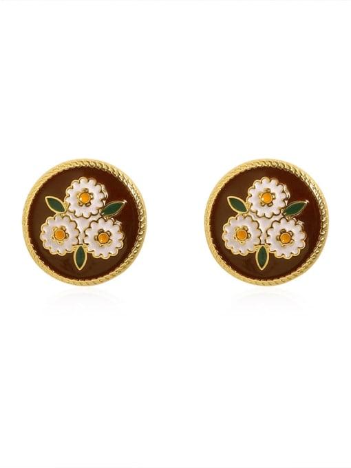 14K gold Brass Enamel Flower Vintage Stud Earring