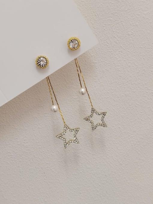 14k Gold Brass Imitation Pearl Tassel Minimalist Drop Earring