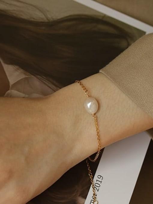 ACCA Brass Freshwater Pearl Irregular Vintage Link Bracelet 1