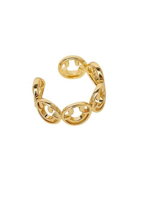 HYACINTH Brass Smiley Minimalist Band Ring 0